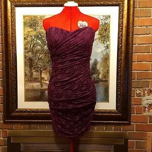 XL purple lace black lining ruched short dress